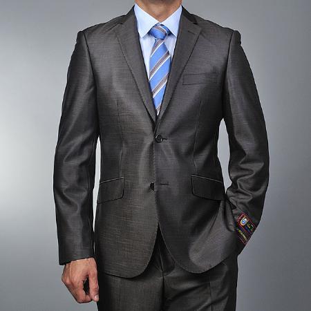 Men's Grey 2-button European Suit Skinny Notch Lapel No Pleated Pants