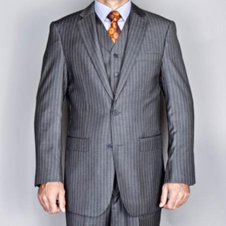 Charcoal Grey ~ Gray Stripe ~ Chalk Pinstripe 2Button Vested Suit 3 pinstripe