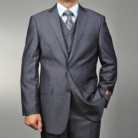 Men's Grey Teakweave 2-button Vested 2 Piece Suits - Two piece Business suits Suit