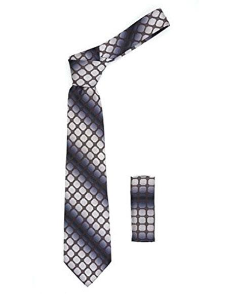 Mens Geometric Grey with Brown Squares Necktie Includes Hanky Set