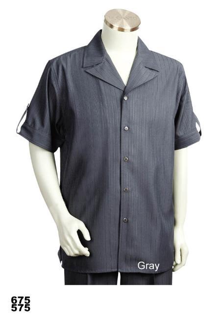 SKU#VD1335 Mens Casual Walking Suit Set (Shirt & Pants Included) Grey