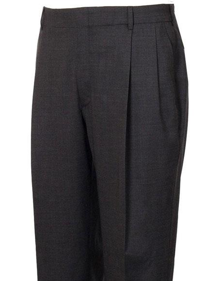 Mens Stylish Pleated Grey Atticus Classic Fit Wool Pant unhemmed unfinished bottom