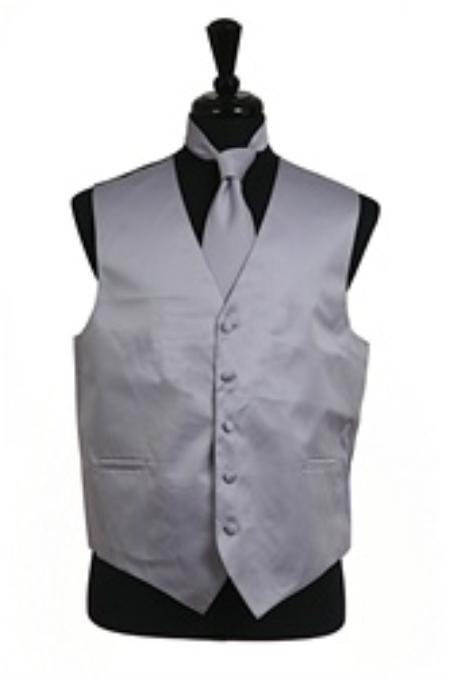 Men's Grey Regular Fit Wedding Dress Tuxedo with Vest ~ Waistcoat ~ Waist coat Tie Set Buy 10 of same color Tie For $25 Each