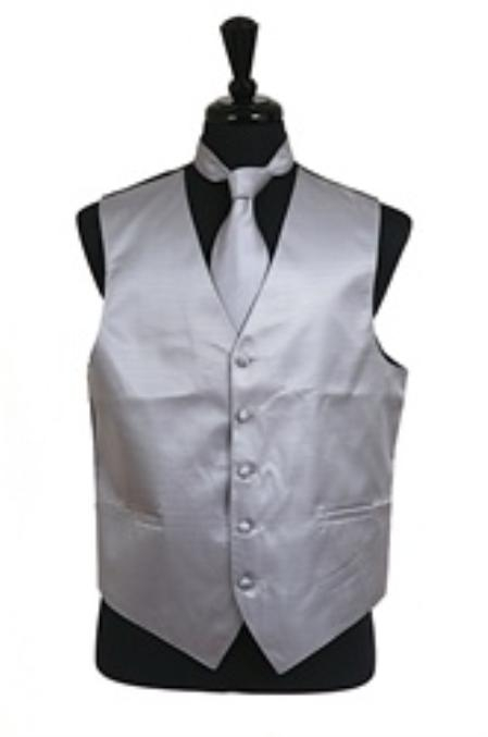 Horizontal Rib Pattern Vest Tie Set Grey