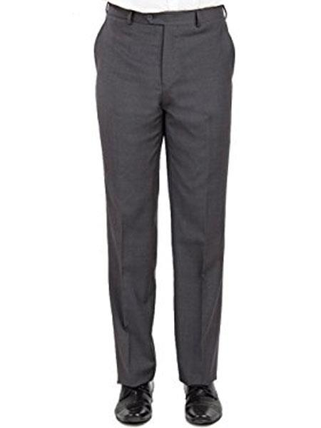 Buy SM1982 Mantoni Men's Modern Fit Front Front Pant Grey