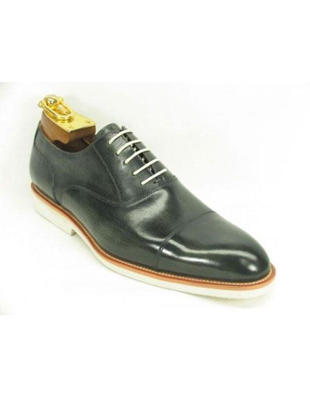 Men's Fashionable Grey Carrucci Genuine Leather Oxford Shoes With White Sole