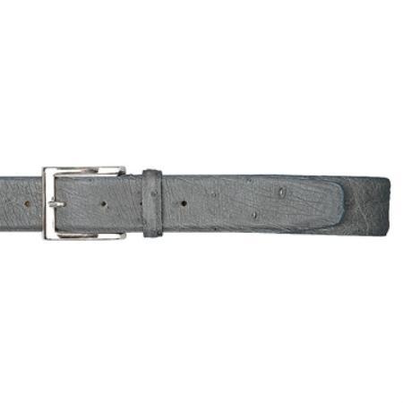 Grey Genuine Ostrich Belt