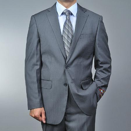 Mens Grey Tonal Shadow Stripe ~ Pinstripe 2-button 2 Piece Suits - Two piece Business suits Suit