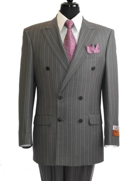 SKU#GS902 Mens Grey ~ Grey Stripe / Pinstripe Double Breasted Suit rayon Fabric