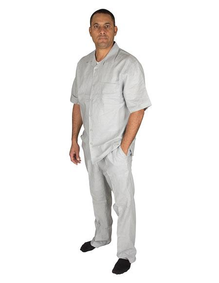 Mens 2 Piece 100% Linen Short Sleeve Casual Two Piece Walking Outfit For Sale Pant Sets Set With Pleated Pants Grey Shirt