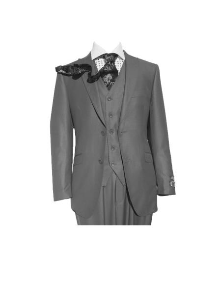 Peak Lapel Grey Three Piece Slim Fit Vested Suit