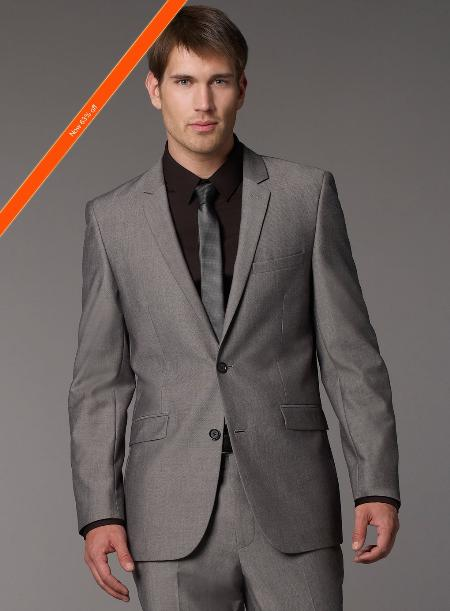 Mens 2 Button Modern Fitted Grey Tonic Pattern Cheap Priced Business Suits Clearance Sale