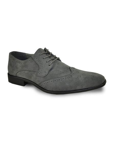 Mens Tuxedo Lace Up Grey Velvet Fabric Suede Shoe For Men Perfect for Wedding