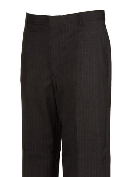 Grey Striped Flat Front Dress Pants unhemmed unfinished bottom
