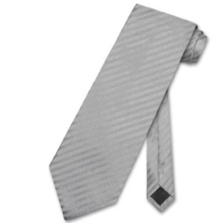 Silver Grey Vertical Stripes Mens Neck Tie