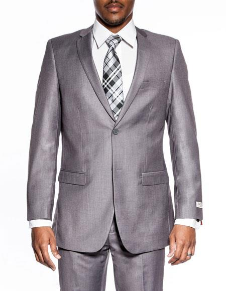 Mens classic grey extra slim fit wedding prom skinny suit