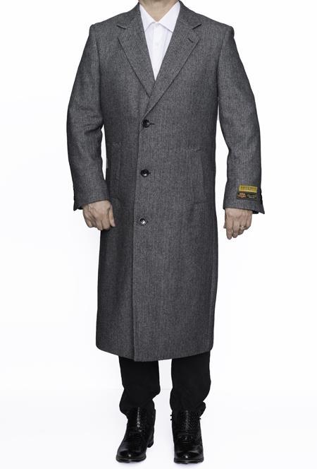 Mens Dress Coat Full Length Wool Dress Top Coat / Overcoat in Grey Herringbone