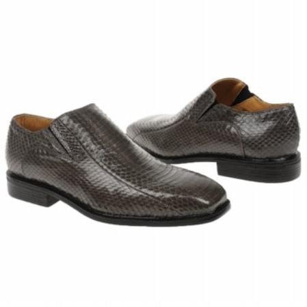 SKU#GY583 Grey Snake Embossed Leather Shoes $139