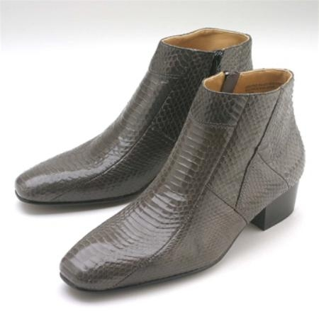 SKU#MNB821 Grey Snakeskin Demi Zip Boot $139