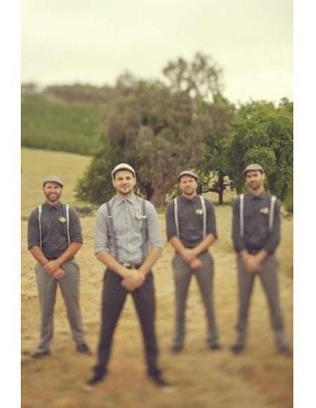 Men's Buttons Closure Collared Neck Casual Groomsmen Attire Suit