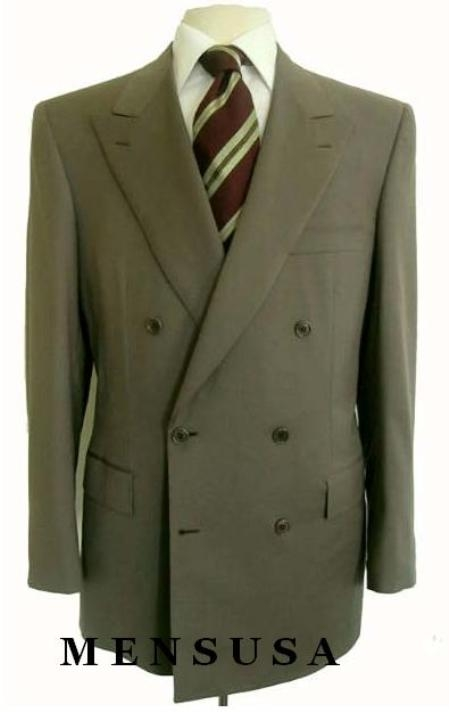 SKU# HTB4 2pc MENS SHARP Double Breasted DRESS SUIT Olive Green Suits $179