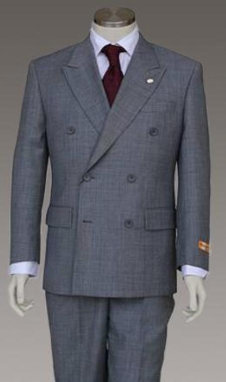 Style: HX8261 Double breasted Light Gray (Steel Gray) Jacket and Pant 6 on 2 Button Closer Style Jacket $159