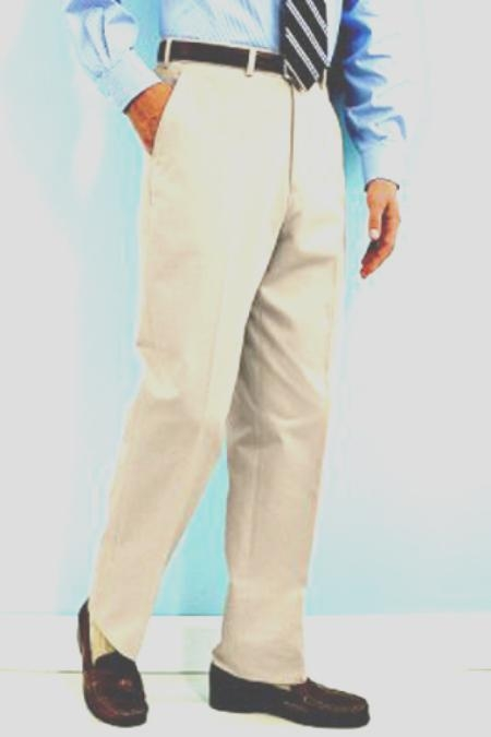 PA100 Snow White Mens White Dress Pants Hand Made Relax Fit unhemmed unfinished bottom