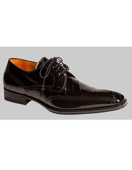 Buy AP437 Mens Black Lace Style Eel Skin Oxford Exotic Leather Shoes Authentic Mezlan Brand
