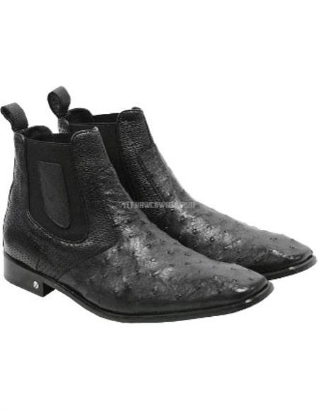 Mens Handmade Black Vestigium Genuine Ostrich Chelsea Boots