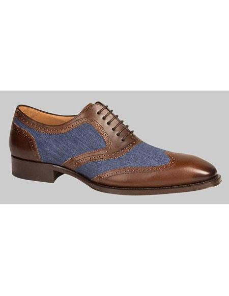 GD479 Men's Handmade Brown/Blue Calfskin Spectator Wingtip Shoes Authentic Mezlan Brand