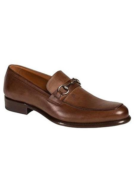 Buy AP495 Mens Brown Metal Horse Bit Calfskin Slip-on Leather Sole Shoes Authentic Mezlan Brand