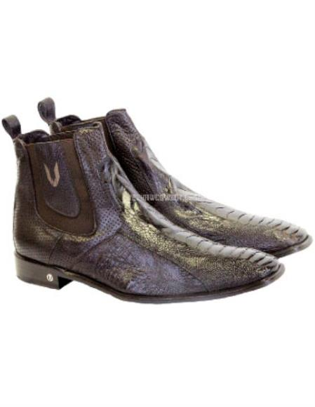 Mens Handmade Brown Vestigium Genuine Ostrich Leg Chelsea Boots