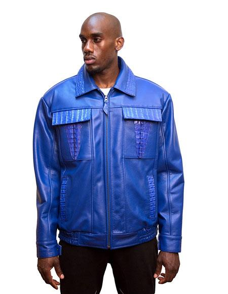 G-Gator Mens Electric Blue Leather Biker Jacket with World Best Alligator ~ Gator Skin Trimming