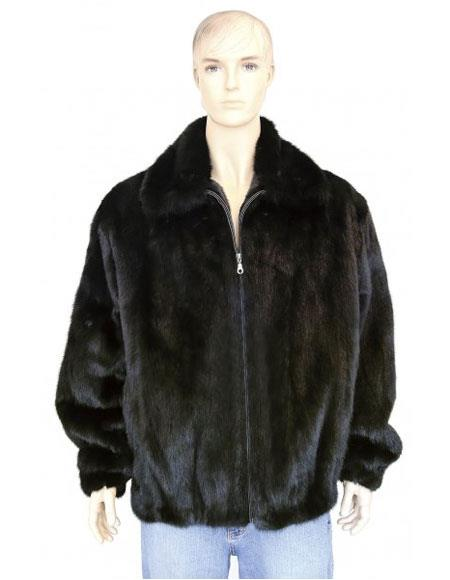 SKU#GD733 Men's Fur Black Genuine Mink Pull Up Zipper Jacket