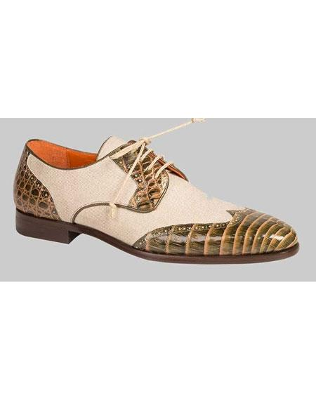 Buy GD478 Men's Handmade Olive/Bone Crocodile Linen Spectator Wingtip Shoes Authentic Mezlan Brand