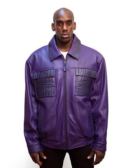 SKU#AP599 G-Gator Mens Purple Zip Closure Leather Jacket with World Best Alligator ~ Gator Skin trimming