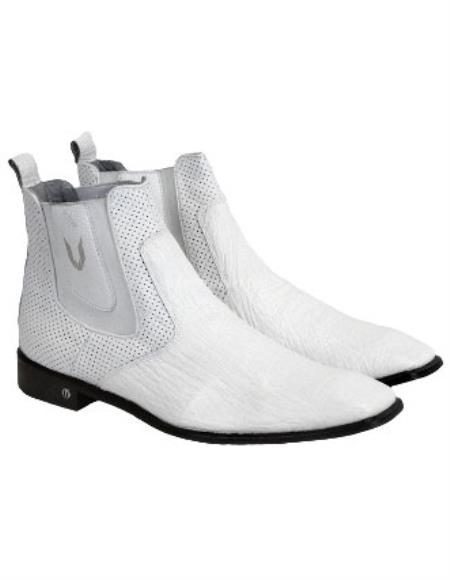 Men's Handmade White Vestigium Genuine Sharkskin Chelsea Boots