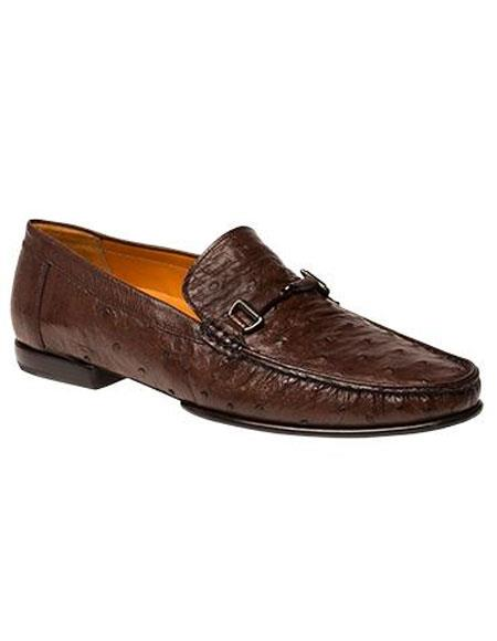 Buy GD460 Men's Tabac Ostrich Italian Calfskin Style Slip-on Shoes Authentic Mezlan Brand