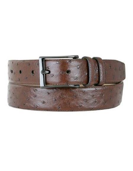 Mezlan Mens Tabac Genuine Ostrich Skin Handmade Belt