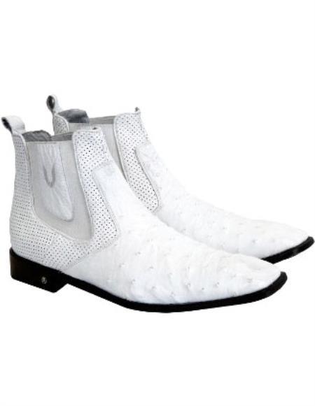 Mens Handmade White Vestigium Genuine Ostrich Chelsea Boots