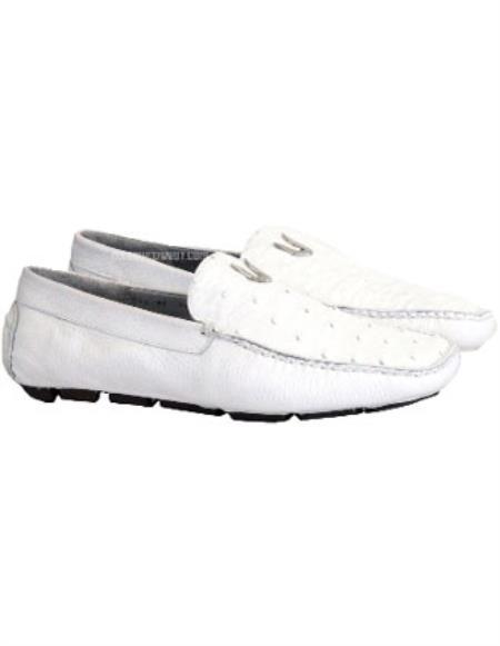 Mens Handmade White Vestigium Genuine Ostrich Stylish Dress Loafer