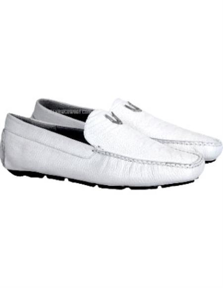 SKU#SS-49N7 Men's Handmade White  Vestigium Genuine Ostrich Leg Loafers