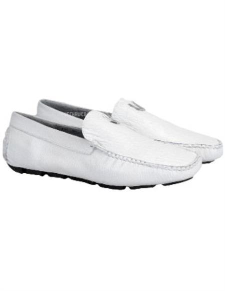 Mens Handmade White Vestigium Genuine Sharkskin Loafers Full Leather Lining