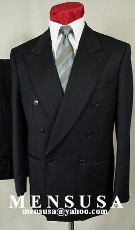 SKU# YHG996 Hardwick Exclusive 6on1 Black Double Breasted No Vent Worsted Wool Double Breasted Solid Black Suit