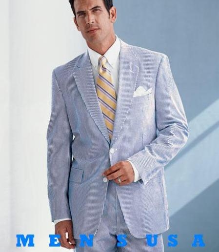 SKU# EFO938 EFO938  Causal White & Sky Blue Pinstripe Seersucker Summer Suits 2 Button Cotton Summer Suits Cool