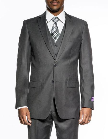 Buy CH2093 Mens Heather grey 3 piece slim fit wedding prom vested suit