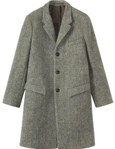Men's Vintage Style Coats and Jackets Mens Herringbone  Tweed 0.65 Wool full length Overcoat Topcoat Gray $153.00 AT vintagedancer.com