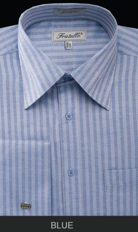 SKU#BLE90 Mens French Cuff Dress Shirt - Herringbone Tweed Stripe Blue