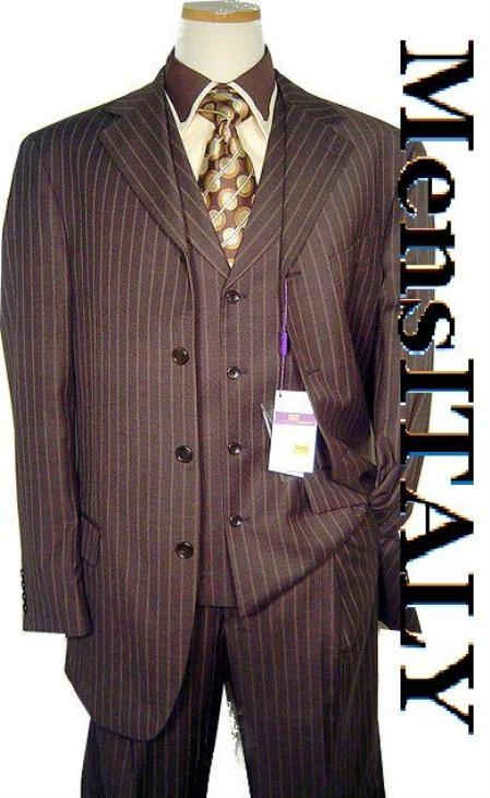 SKU# CGL710 Hidden Button 34 Inch Brown & Light Brown/Rust Pinstripe 4-5 Buttons Vested Wide Leg Pants