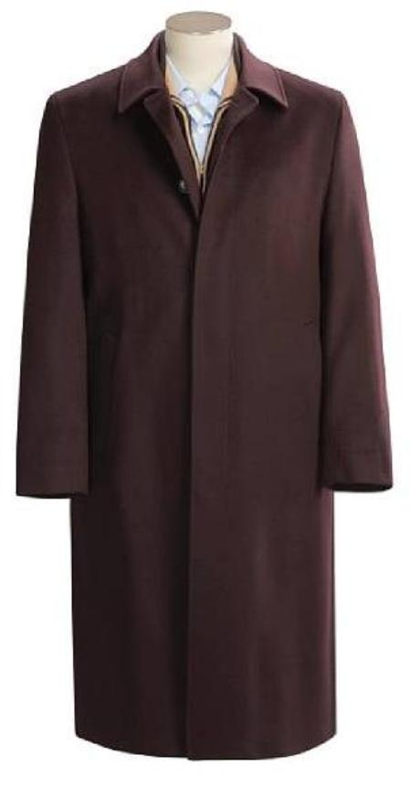 SKU#Florance Single Breasted 3 Button CoCo Brown Mens Full Length Overcoat Wool&Cashmere Fully Lengh Coat $249